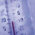 Low temperatures on thermometer